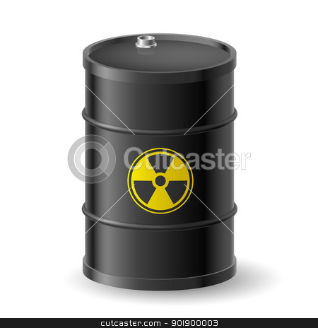 Radioactive barrel stock photo, Black Barrel with a Radioactive Warning label by dvarg