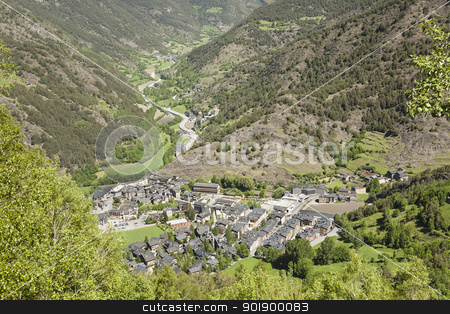 small village view from a distance stock photo, Small village located somewhere in the Pyrenees in Andorra by marekusz