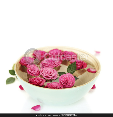 pink roses in bowl stock photo, Close up of Beautiful pink roses in bowl over white by klenova