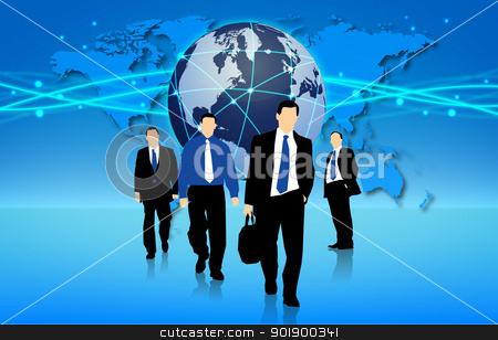 Business in Action stock vector clipart, Management team into action in an international business by Alfio Roberto Silvestro