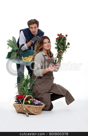 couple gardening together stock photo, couple gardening together by photography33