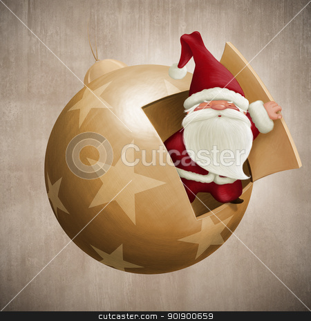 Santa Claus inside the decorative ball stock photo, Santa Claus inside the decorative ball illustration by Giordano Aita