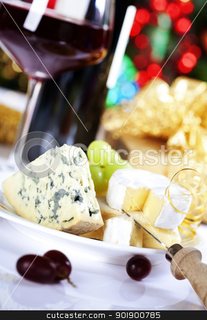 cheese and wine stock photo, Cheese and wine on Christmass tree background by klenova