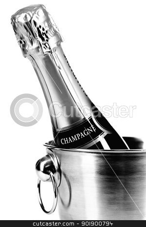 Champagne stock photo, Bottle of champagne in cooler over white by klenova