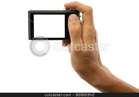 Photo camera in hand isolated on white stock photo, Hand of a man holding a digital camera on a white background by Antartis
