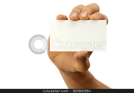 Man's hand with a business card stock photo, The hand of man shows a business card. Isolated on white by Antartis