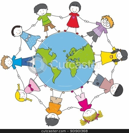 children around the world united  stock vector clipart, children around the world united  by sbego