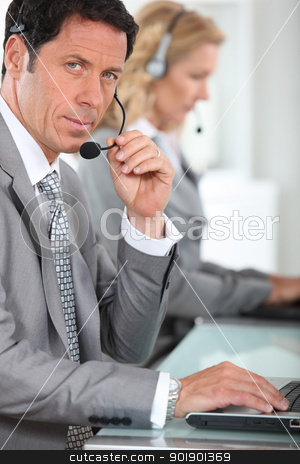 portrait of a man with headset stock photo, portrait of a man with headset by photography33
