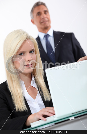 Man approaching blond woman stock photo, Man approaching blond woman by photography33