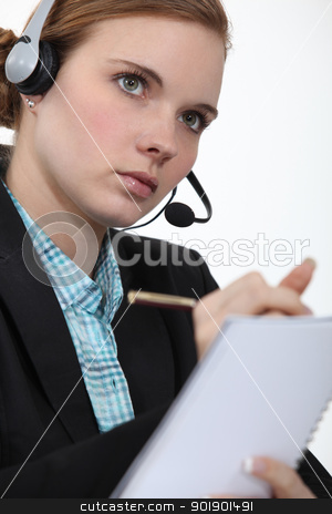 Telephony operator notebook stock photo, Telephony operator notebook by photography33