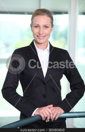 Executive Woman behind railings stock photo, Executive Woman behind railings by photography33