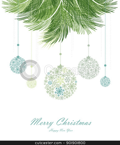 Christmas background stock vector clipart, Vector christmas background with decorated christmas branch by Miroslava Hlavacova