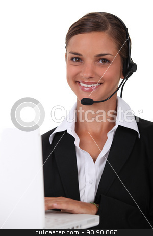 Young brunette with headphones and microphone stock photo, Young brunette with headphones and microphone by photography33