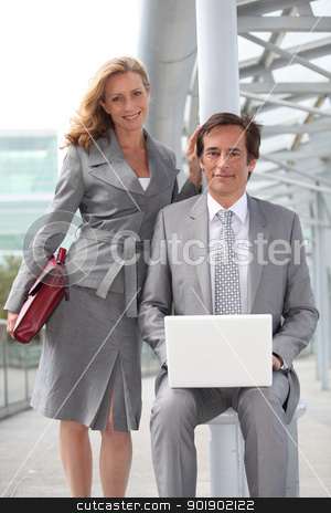 Executives with laptop computer stock photo, Executives with laptop computer by photography33