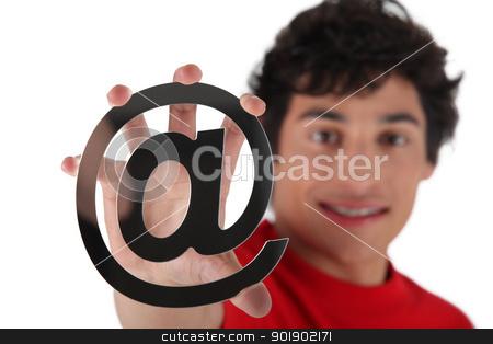 Man holding at symbol stock photo, Man holding at symbol by photography33