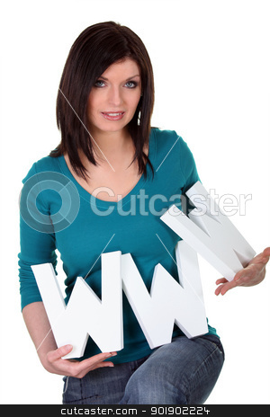 Woman with letters www stock photo, Woman with letters www by photography33