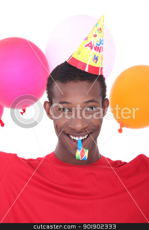black man at birthday's party stock photo, black man at birthday's party by photography33