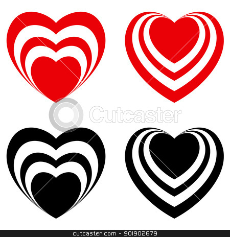 Abstract Valentine heart set stock photo, Abstract Valentine heart set, love symbol. Illustration on white by dvarg