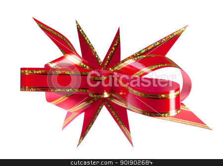 Red gift bow stock photo, Red gift bow. Isolated on white background by dvarg