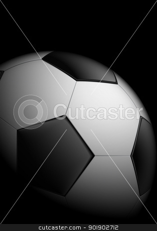 Realistic soccer ball stock photo, Realistic soccer ball on black background by dvarg