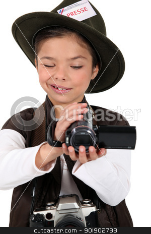 portrait of a little girl dressed as a photographer stock photo, portrait of a little girl dressed as a photographer by photography33