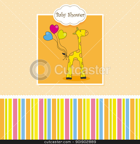 new baby shower card with giraffe  stock vector clipart, new baby shower card with giraffe  by sbego