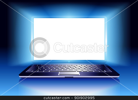 Laptop Computer with light stock vector clipart, Front view of a laptop in the dark with space for your message by Fenton