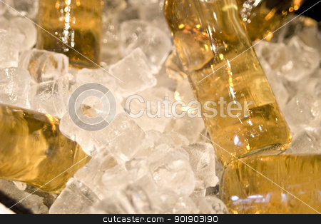 Bottles of lemonade with ice stock photo, Bottles of lemonade with broken ice by dvarg