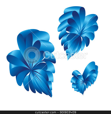 Shape of a hearts. stock photo, Ribbons curled into the shape of a blue hearts. by dvarg
