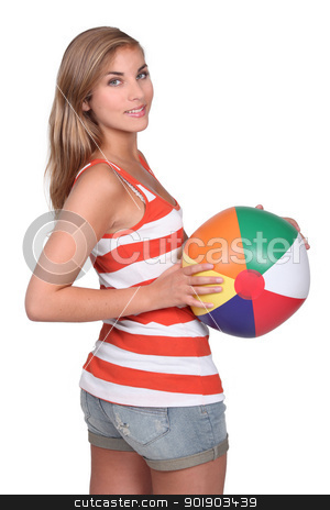 Teenager with balloon stock photo, Teenager with balloon by photography33