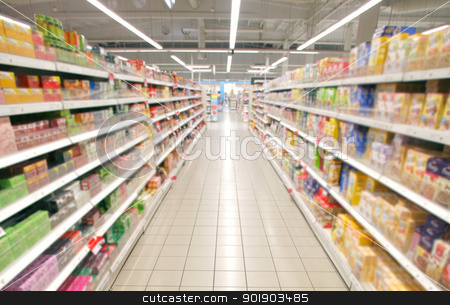 supermarket perspective stock photo, Wide perspective of empty supermarket aisle by Paul Prescott