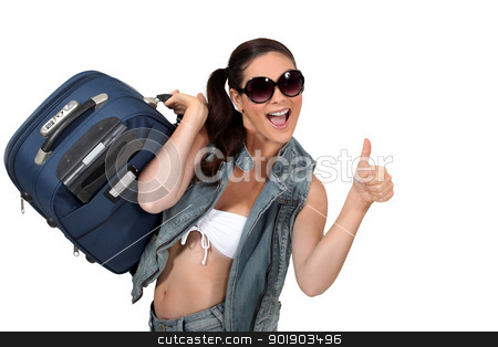 Happy woman going on holiday stock photo, Happy woman going on holiday by photography33