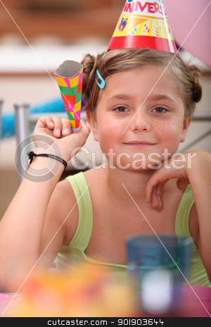 Young girl at a birthday party stock photo, Young girl at a birthday party by photography33
