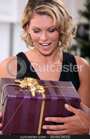 Young woman delighted to receive a prettily wrapped Christmas present stock photo, Young woman delighted to receive a prettily wrapped Christmas present by photography33