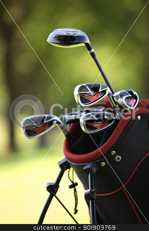 Golf clubs in a bag stock photo, Golf clubs in a bag by photography33