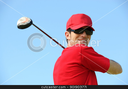 Golfer head and shoulders smiling. stock photo, Golfer head and shoulders smiling. by photography33