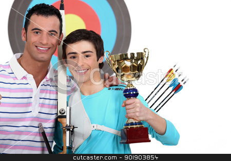 little boy winning an archery contest stock photo, little boy winning an archery contest by photography33