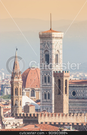 Florence Duomo view stock photo, Panoramic view from Piazzale Michelangelo in Florence - Italy by Perseomedusa