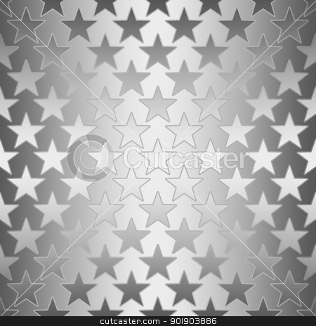 Seamless Silver Stars stock photo, Silver stars on shiny silver background by SongPixels