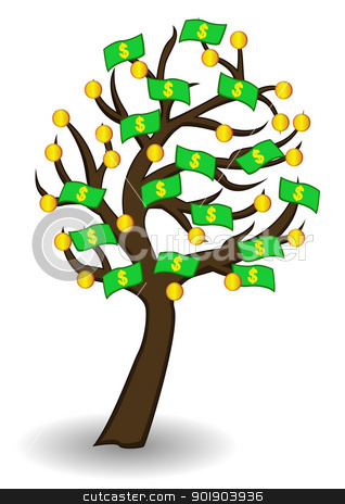 tree of money and gold stock vector clipart, vector illustration of tree of money and gold by sunlight789