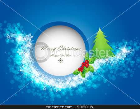 Christmas background stock vector clipart, Blue Christmas background with space for text  by Miroslava Hlavacova