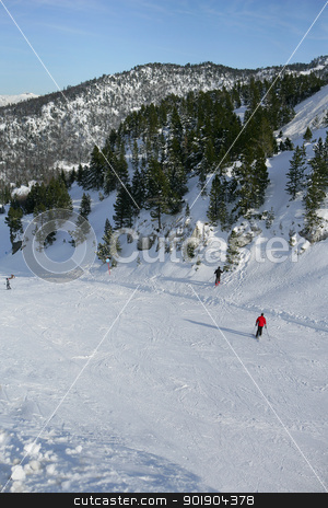Ski slope seen from above stock photo, Ski slope seen from above by photography33
