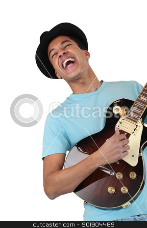 An enthusiastic guitar player stock photo, An enthusiastic guitar player by photography33