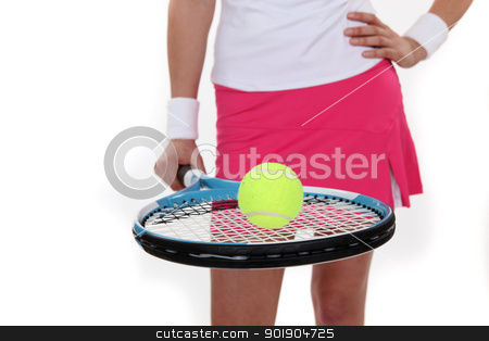 Woman with tennis racquet and ball stock photo, Woman with tennis racquet and ball by photography33