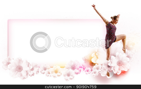 Girl in color dress dancing.Collage stock photo, Girl dancing in a color dress with a gray background. Collage with place for text by Sergey Nivens