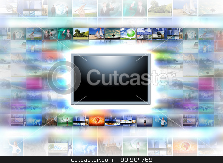 A flat screen television stock photo, A flat screen television has a blank black text area with photo images coming out of the sides of it. The tv has a glowing light coming out the top by Sergey Nivens