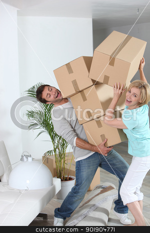 crazy couple moving out stock photo, crazy couple moving out by photography33