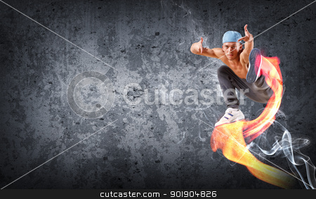 young man dancing hip hop with color lines stock photo, young man in a blue cap dancing hip hop - collage with place for text by Sergey Nivens