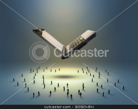 Flying notebook and figures of people stock photo, Flying notebook and figures of people standing below it by Sergey Nivens