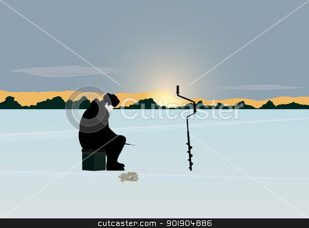 Winter fishing stock vector clipart, The sun on the horizon of the forest stands over the snow-covered pond. A man catches a fish winter fishing rod in the hole. by Sergey Skryl